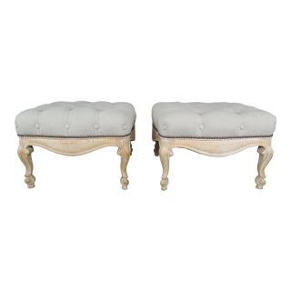 Pair of French Belgium Linen Tufted Benches For Sale