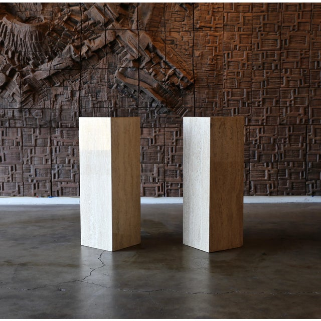 Travertine Pedestals Circa 1980 - a Pair For Sale In Los Angeles - Image 6 of 6