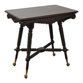 Hunzinger Antique Mahogany Twist Leg Claw Foot Library Parlor Table
