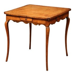 19th Century French Four-Drawer and Glass Holder Game Table With Leather Top For Sale