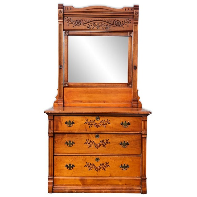 19th Century Victorian Birds Eye Maple Mirrored Country Dresser For Sale - Image 10 of 10