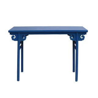 Chinese Scroll Apron Rustic Blue Altar Console Table For Sale