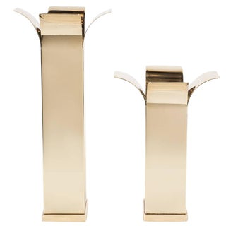 Pair of Mid-Century Modernist Polished Brass Candlesticks with Curved Detailing For Sale