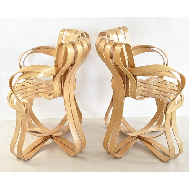 Knoll International Frank Gehry for Knoll Cross Check Chair Maple Wood With Arms - a Pair For Sale - Image 4 of 13