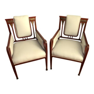 Early 20th Century Vintage French Art Nouveau Club Chairs- A Pair For Sale