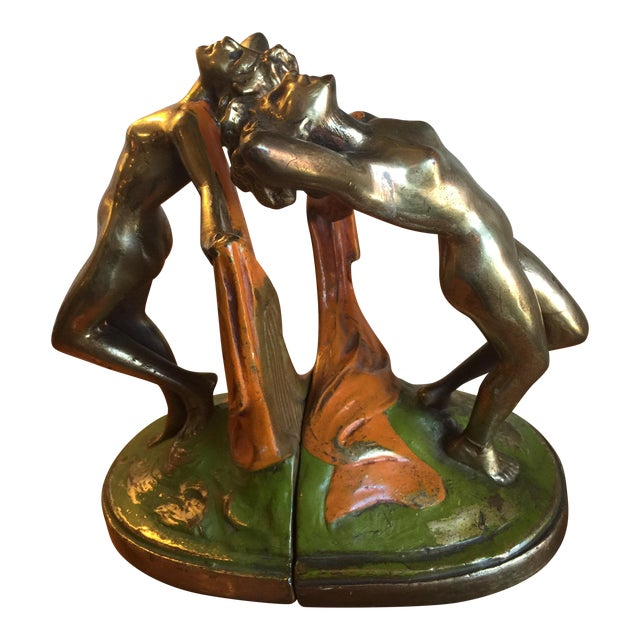 Vintage 1920s Bronze Dancer Bookends - A Pair For Sale