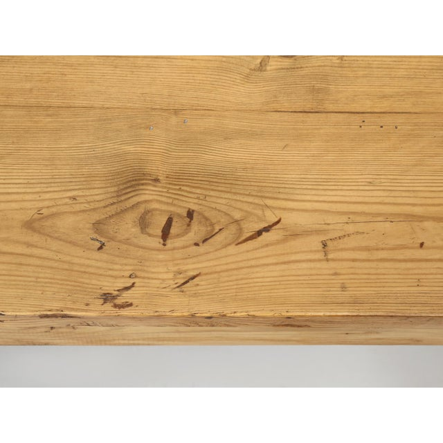 Brown French Pine Farm Table in a Beeswax Finish For Sale - Image 8 of 11