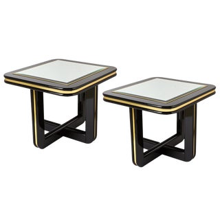Pair Large 1970s Black Enamel & Mirror End Tables For Sale