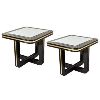 Pair Large 1970s Black Enamel & Mirror End Tables For Sale