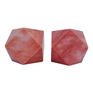 1960s Vintage Italian Diamond Cut Marble Bookends - A Pair For Sale