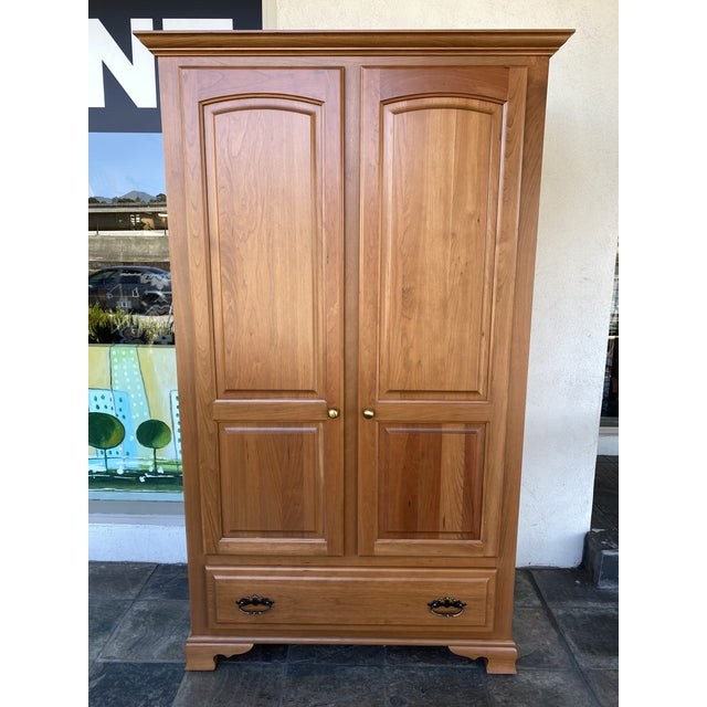 Amish Cherry Wood Classic Wardrobe Armoire For Sale - Image 13 of 13