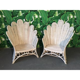 Pair of Rattan Wicker Peacock Fan Back Arm Chairs Preview