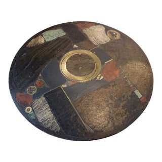 Brutalist Paul Kingma One-Off Ceramic and Brass Artwork Coffee Table