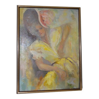 "Mid Modern Vintage Oil Painting ""The Yellow Dress"" by Melba c.1960s"