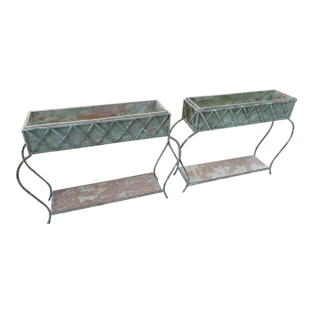 Rustic Green Painted Jardinieres - a Pair - Image 1 of 6