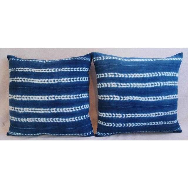 Indigo Blue Boho Chic African Mali Mud Cloth Tribal Textile Pillows - Pair - Image 3 of 11