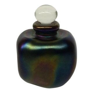 Vintage Hand Worked Glass Perfume Bottle Signed Eickholt For Sale