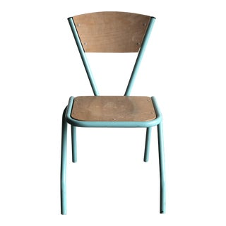 1940s Vintage Aqua Green Piped Plywood School Chair