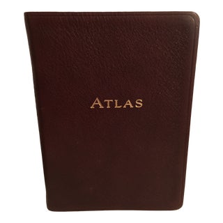 Brown Leather Bound Atlas Book For Sale