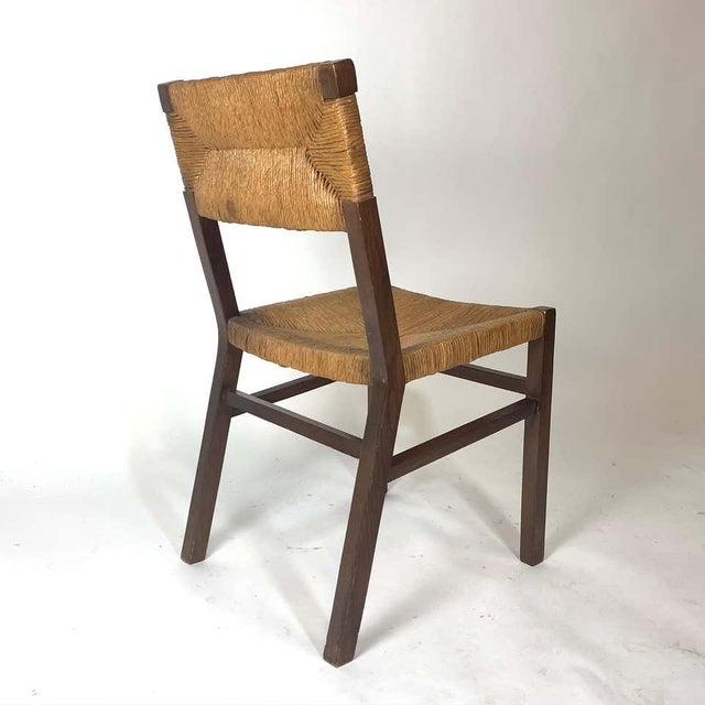 Mid 20th Century Set of 1950s French Countryside Woven Rush Seat & Back Chairs For Sale - Image 5 of 8