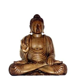 Japanese wood Sitting Buddha Tall Vintage Antique