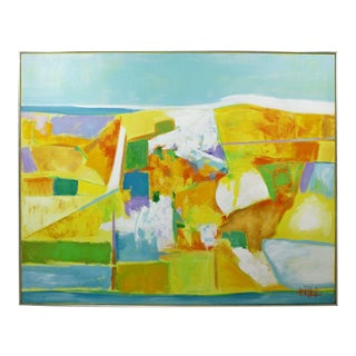 Mid Century Modern Framed Abstract Acrylic Canvas Painting Lee Reynolds For Sale