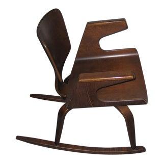 Mid-Century 1950s Rare Plywood Thonet Rocking Chair