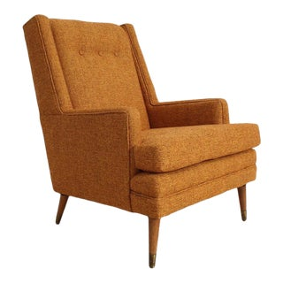 Vintage Mid Century Mustard Gold Club Chair For Sale