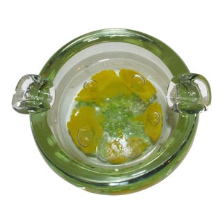 Vintage Yellow Flowers Encased in Clear Blown Glass Ashtray For Sale