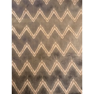 Schumacher Chevron Cut Velvet Grey Fabric - 6 Continuous Yards For Sale