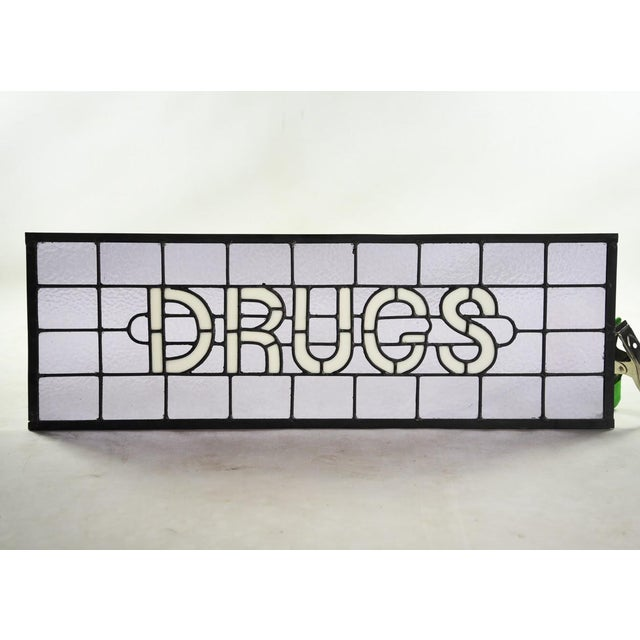 "Original Stained Glass Sign ""Drugs"" by James Moore For Sale In Atlanta - Image 6 of 8"