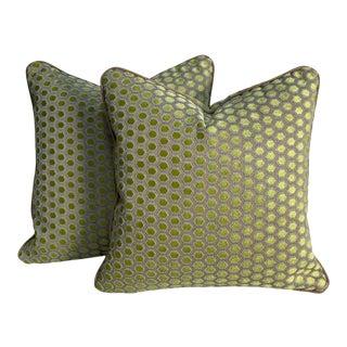 Geometric Velvet Pillows - a Pair For Sale