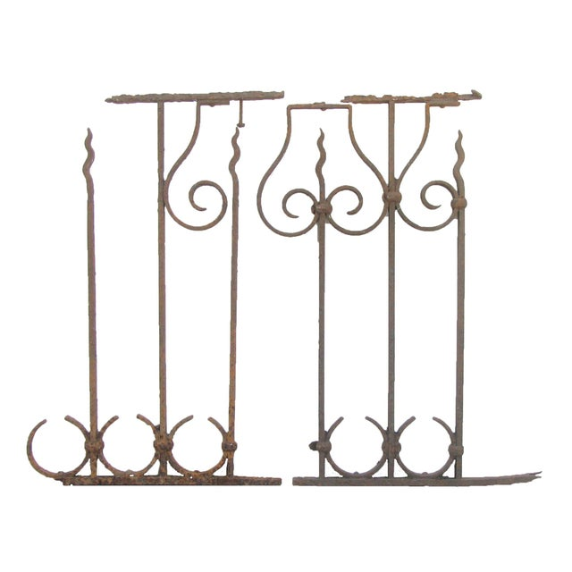 Antique French Iron Fence Fragments, Pair For Sale - Image 4 of 4