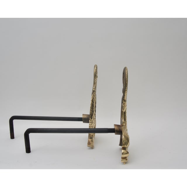 Bradley Hubbard Bradley & Hubbard Brass Dolphin-Form Andirons - a Pair For Sale - Image 4 of 6