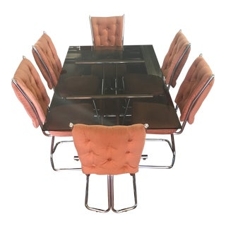 Vintage Mid-Century Douglas Furniture of California Salmon Dining Set - 7 Pieces For Sale