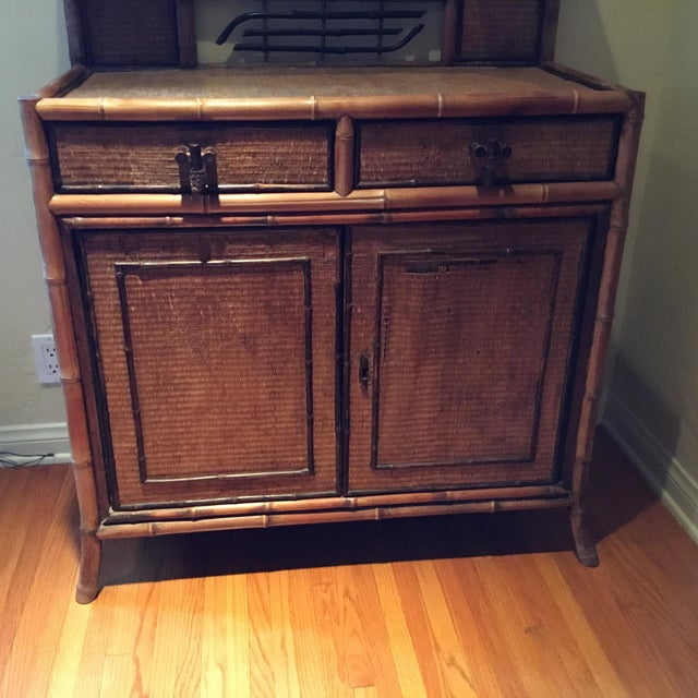 Boho Chic 1940s Boho Chic Bamboo Hutch For Sale - Image 3 of 7