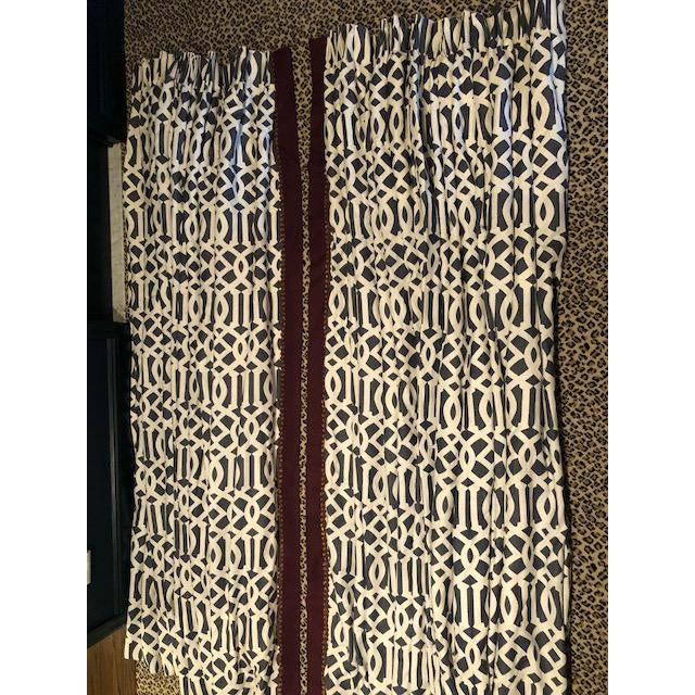 Cotton Schumacher Imperial Trellis Drapery Panels - a Pair For Sale - Image 7 of 7