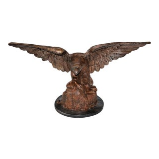 Monumental 19th Century Cast Iron Eagle on Wood Mount For Sale
