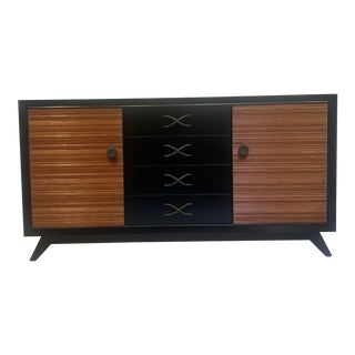 Paul Frankl for Brown Saltman Combed Wood Mahogany Credenza For Sale