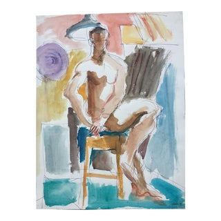 Original Male Nude Watercolor By May Bender