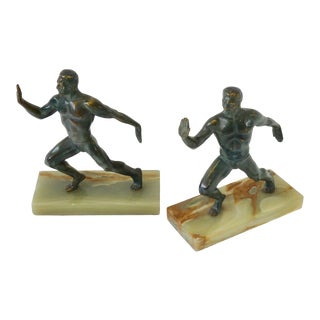 Pair of Bronze on Marble Greek Olympian Male Figure Bookends For Sale