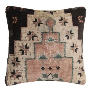 Vintage Wool Rug Pillow Cover For Sale