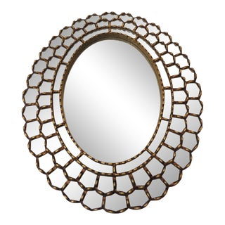 Vintage Large Oval Gold Leaf Peruvian Mirror With Scalloped Edges For Sale