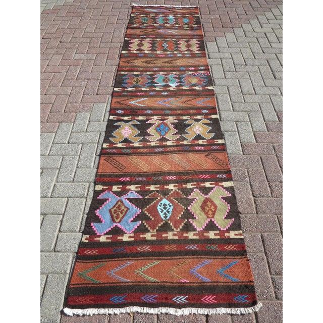 """Vintage Turkish Kilim Runner-2'6'x10"""" For Sale - Image 13 of 13"""