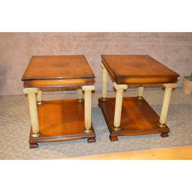 Vintage Neo-Classic Style Corenthian Column Leg Side Tables - a Pair For Sale - Image 4 of 13