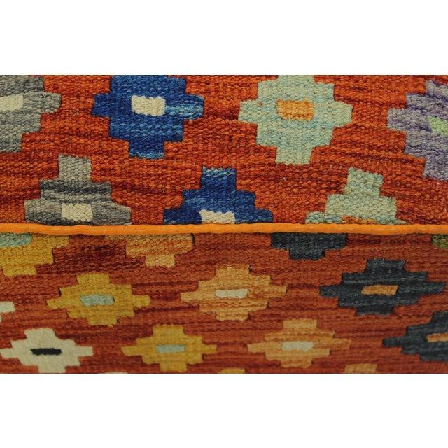 Wood Hammer Orange Handmade Kilim Upholstered Ottoman For Sale - Image 7 of 8