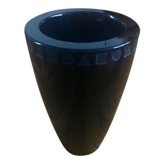 1980s Art Deco Ward Bennett Post Modern Black Glass Vase