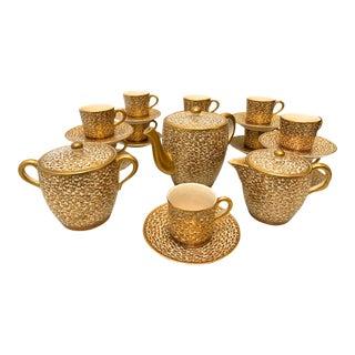 Vintage Cloisonné Style Asian Butterfly Tea Set For Sale