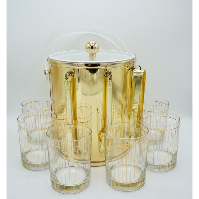 Golden Pinstriped Low Ball Cocktail Glasses (6) & Champagne Bucket With Bar Tools For Sale - Image 13 of 13