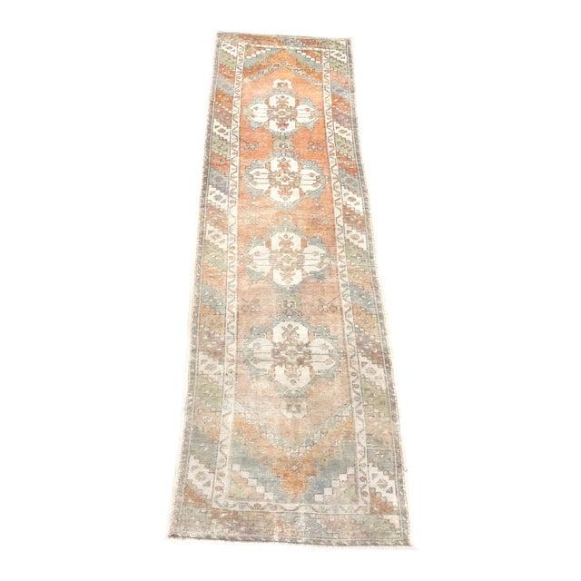 Vintage Orange Faded Oushak Turkish Wool Runner- 2′11″ × 10′3″ For Sale